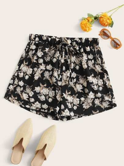 Shein Floral Print Tie Front Shorts