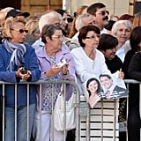 Crowds gathered to see the royal family.