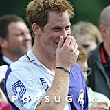 Prince Harry had a laugh after the polo match.