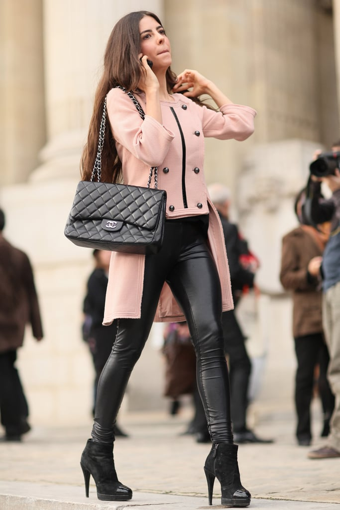 Petal-pink got a cool-girl makeover thanks to the black leather in this look.