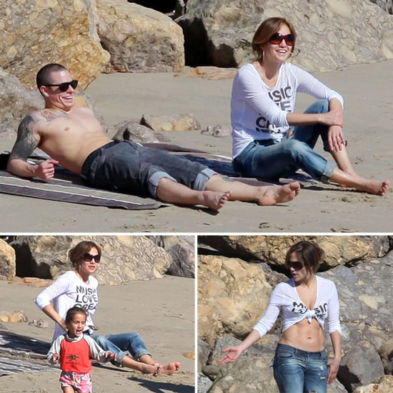 J Lo Shows Her Abs on the Beach With Shirtless Casper Smart, Max, and Emme