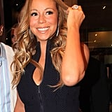 Mariah Carey wore a black zip-up dress for the Project Canvas Exhibition & Art Gala in NYC.