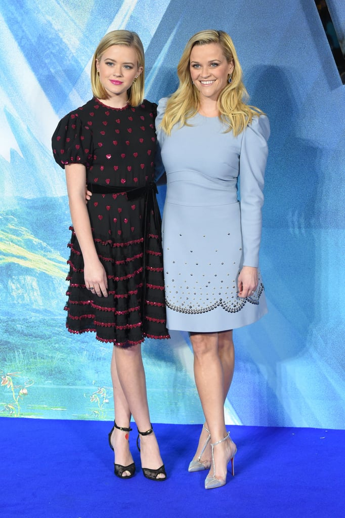 Reese Witherspoon is enjoying some quality mother-daughter time during her press tour for A Wrinkle in Time. After appearing on The Late Late Show With James Corden with her costars earlier this week, the actress brought along her 18-year-old daughter, Ava Phillippe, as her plus-one for the film's London premiere on Tuesday. Aside from documenting their departure from their hotel with a dazzling Instagram video, the ladies shined bright as they hit the blue carpet together. Even though Ava sported a new haircut, she still looked just like her famous mom as she smiled for photographers. They even had the same pose! See their sweet outing ahead.       Related:                                                                                                           TK Photos of Reese Witherspoon and Ava Phillippe
