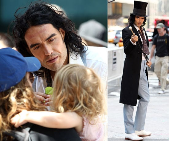 Pictures of Russell Brand and Helen Mirren On Arthur Set, Russell Brand Unhurt After Car Crash