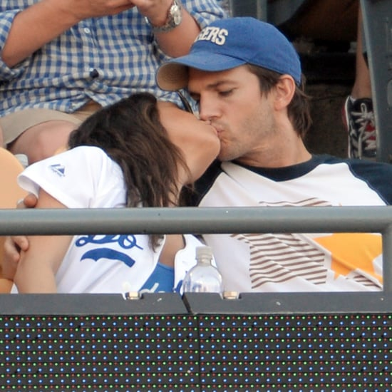 Mila Kunis and Ashton Kutcher LA Dodgers Game PDA Pictures