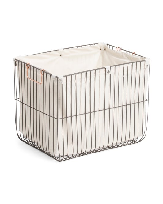 Large Metal Weave Lined Storage Basket