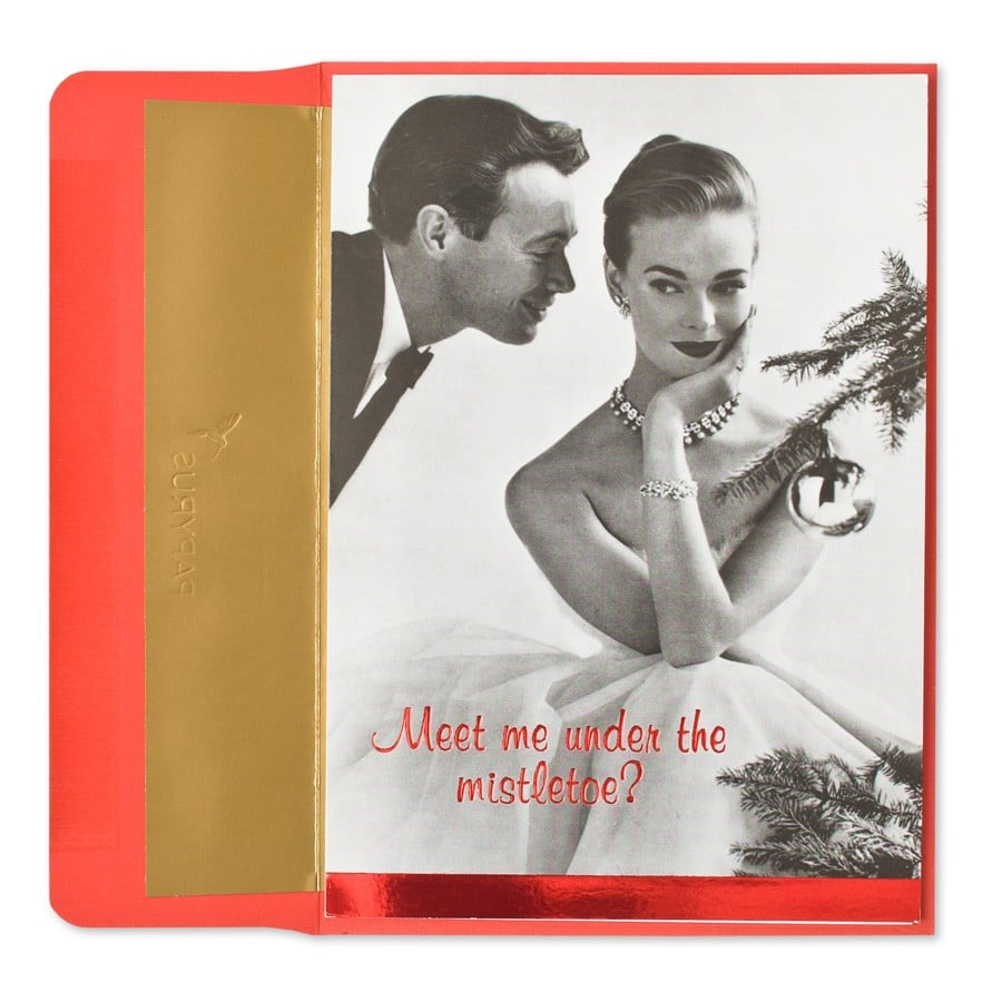 "This Christmas Courting card reads: "" Meet me under the mistletoe? . . . or under the covers. I'm flexible. Merry Christmas!"""