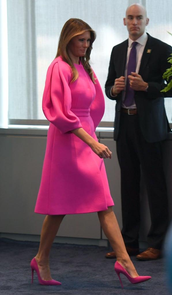 Melania Trump Wearing Pink Delpozo Dress
