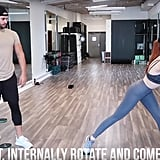 Do the same move again, but this time, incorporate a torso rotation, making sure your outer leg is straight.
