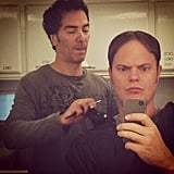 Rainn Wilson got prepped for a day of shooting The Office. Source: Instagram user rainnwilson