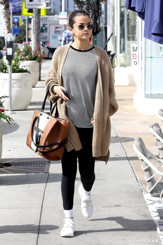 39c2ce0b7c Selena Gomez Wearing Beige Cardigan | POPSUGAR Fashion