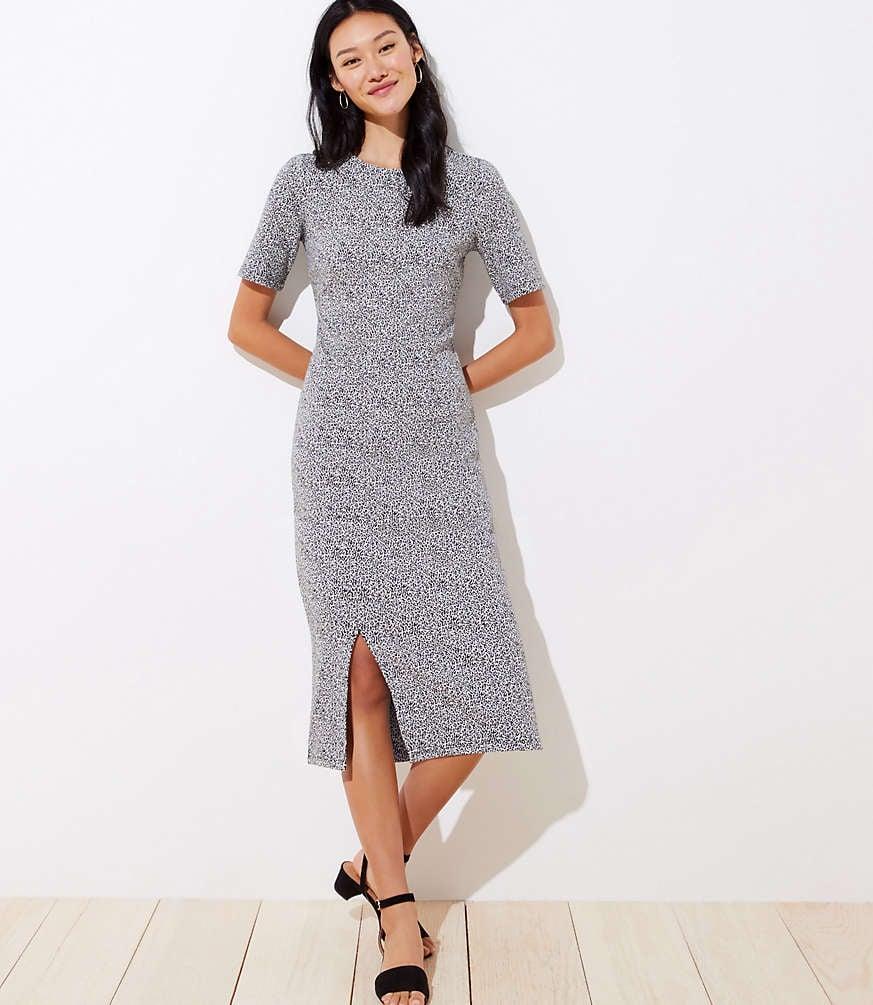 Loft Leopard Jacquard Midi Dress