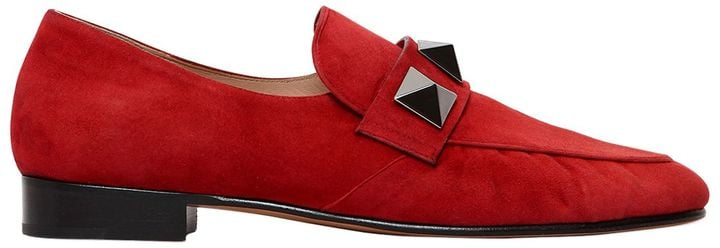 02bc90166fb Valentino 20mm Macro Studs Suede Loafers