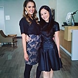 Jessica Alba promoted The Honest Company in a printed pencil skirt and silky top — we love her statement earrings! Source: Instagram user jessicaalba