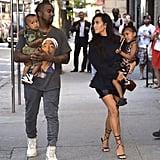 Kim Kardashian With Kanye West, North, and Saint in NYC 2016