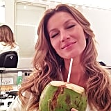 Gisele Bündchen sipped on coconut water while in the hair and makeup chair. Source: Instagram user giseleofficial