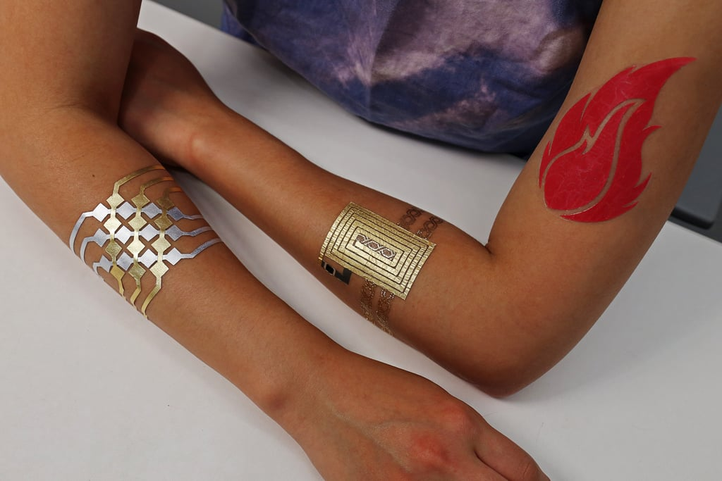 All three of the DuoSkin tattoo devices.
