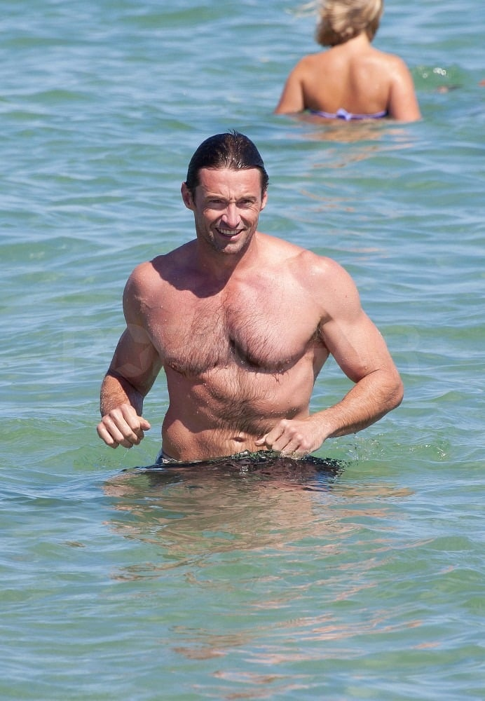 Hugh cooled off in the water.