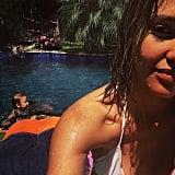 She Wore This White Scalloped Bikini For a Weekend Swim