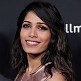 "You have: superstraight hair like Freida Pinto.  At the salon, ask for: a defined wave with volume and lived-in texture. How to DIY it at home: Any gal with straight strands knows that proper prep is essential to lasting volume and texture. Appleton recommends starting by applying a thickening mousse to damp hair (we like Living Proof Full Thickening Mousse ($27)) and rough-drying without a brush. ""This will start to work with any natural wave or movement you may have,"" he explained.  Then use a conical-shaped iron, such as the T3 Whirl Convertible Tapered Styling Wand ($185), to add curls, focusing the thicker end of the wand at your roots and the narrow end at the tips of your hair. ""It will give your hair a slightly uneven curl and a natural-looking beach wave,"" he said. Then, finish by applying a shine serum like Color Wow Pop & Lock Shellac ($18) from halfway down the shaft through the tips, which Appleton explained will provide that defined, piecey, glossy look. For more tips on how to make straight hair hold a curl, go here."