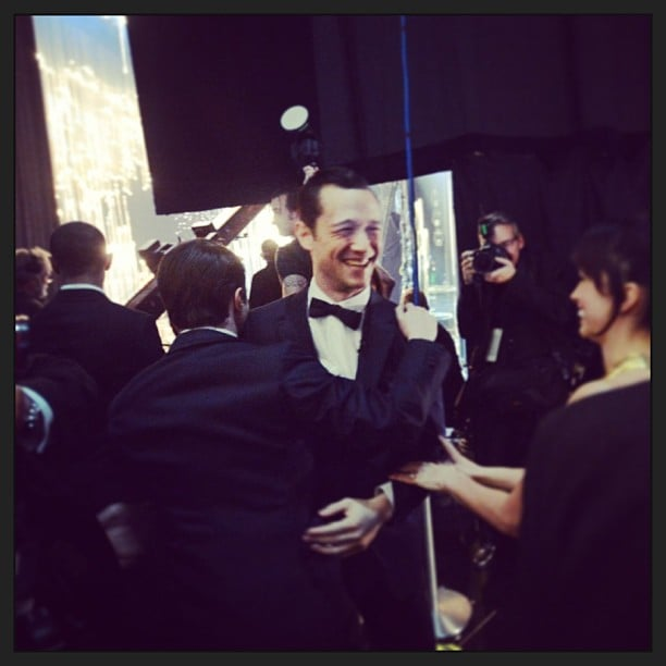 Joseph Gordon-Levitt celebrated backstage after performing alongside Seth MacFarlane and Daniel Radcliffe in the opening number. Source: Instagram user theacademy