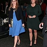 Princess Beatrice Wore a Blue Wrap Dress, Simple Cardigan, and Silver Loafers