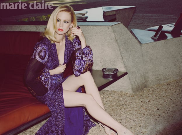 January Jones seems intent on shedding her Betty Draper shell. And although we love her ladylike Mad Men style as much as the next frock-loving gal, her off-set modern sartorial stylings leave the twinsets for dead. January flashes (elegant amounts) of skin for the May issue of UK Marie Claire, donning thigh high split skirts, side slashed frocks and deep V necked ensembles from Louis Vuitton, Diane von Furstenberg, Balenciaga and (of course) Versace. It's sexy, but in a thoroughly sleek way. Not a petticoat or string of pearls in sight. So sexy, Ms Jones!