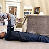 Meanwhile, President Obamaunderstands the irresistible cuteness of a kid in a costume.