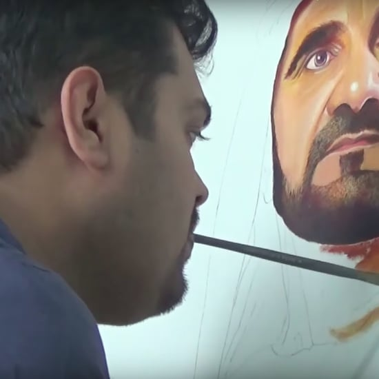 Artist With No Hands Paints Sheikh Mo