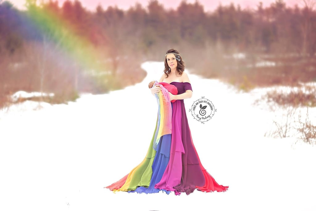 After suffering six miscarriages in the years following the birth of her son Corbin, Jessica Mahoney was thrilled to learn that she was expecting a rainbow baby. She did a beautiful pregnancy photo shoot that went viral, but it couldn't compare to the stunning photos of Jessica with her baby when she was born.       Related:                                                                                                           This Stunning Rainbow Baby Maternity Shoot Was Made More Special by an Actual Rainbow