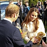 Kate Middleton and Prince William accepted the gift of a stuffed teddy bear.