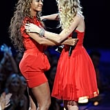 In 2009, Taylor and Beyoncé shared a sweet hug on stage after Beyoncé let Taylor finish her acceptance speech that was previously interrupted by Kanye West earlier in the show.