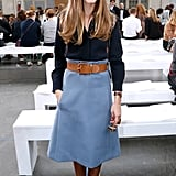 Nearly a month of Fashion Week dressing didn't seem to exhaust Olivia Palermo, who sat front row time and time again with equally spot-on outfits. We adored this high-waisted skirt and thick belt at the Chloé show.