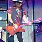 Johnny Depp showed off his guitar skills for the Aerosmith crowd.