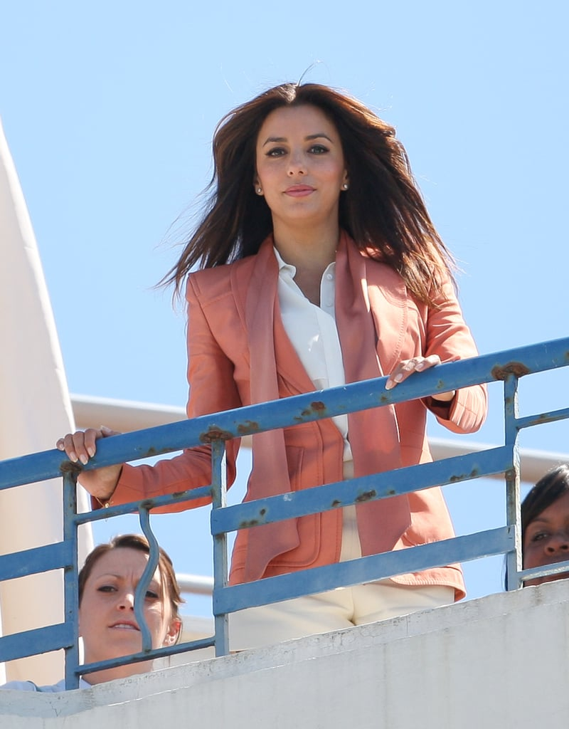 Eva Longoria struck a pose on the rooftop of a hotel for a photo shoot at the Cannes Film Festival.
