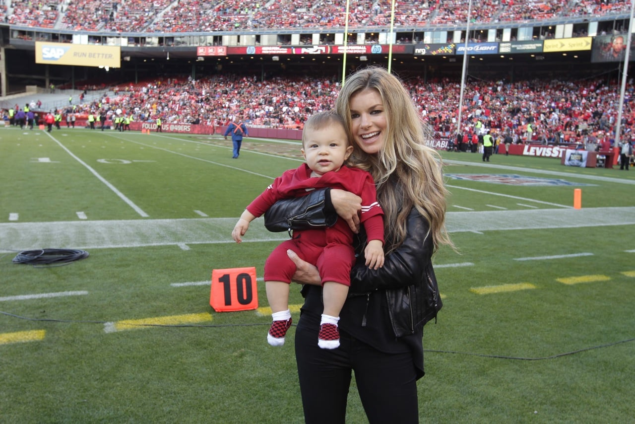 Marisa Miller debuted her son, Gavin Lee Guess, during a preseason game for the San Francisco 49ers at Candlestick Park in August 2013. Source: San Francisco 49ers