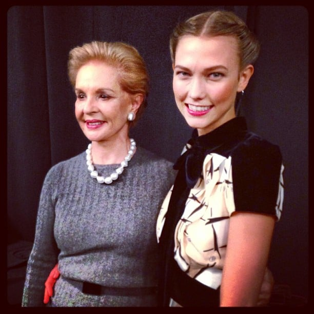 Karlie Kloss posed with Carolina Herrera at the designer's Fall show. Source: Instagram user karliekloss