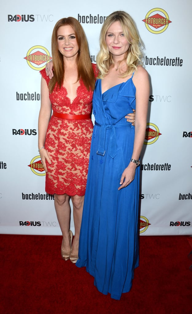 Isla Fisher and Kirsten Dunst posed together on the red carpet at the Bachelorette premiere in LA.