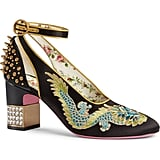 Gucci Caspar Embroidered Ankle-Strap Pump