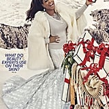 Oprah wore a St. John sweater, Christian Siriano skirt, House of Fluff faux-fur cape, and Pandora jewels on the cover of her 2017 Favorite Things issue.