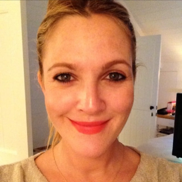 Drew Barrymore tested out a lipstick shade from her Flower Cosmetics line. Source: Instagram user drewbarrymore