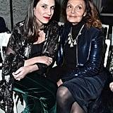 With Diane Von Furstenberg at the Giambattista Valli show during Paris Fashion Week in January of 2017.