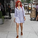 Rihanna bared her legs in the Big Apple.