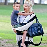 Gwen Stefani and Kingston Rossdale at a park in LA.