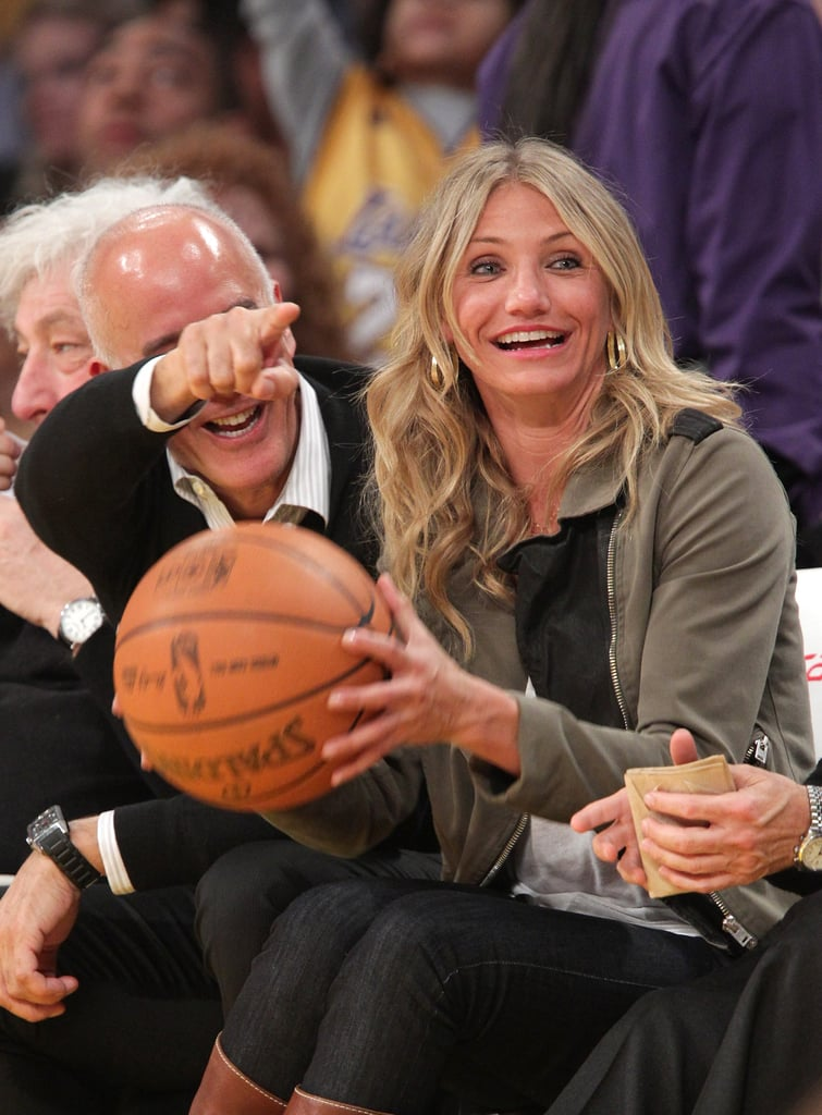 Cameron Diaz caught a basketball during a game between the LA Lakers and the Cleveland Cavaliers in January 2011.