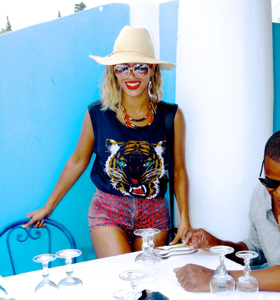 Perhaps her wildest look yet, Beyoncé tucked a Lovers + Friends tiger muscle tee into Topshop leopard denim shorts before having dinner with husband Jay Z. Source: Beyoncé on Tumblr