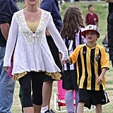 Britney Spears held her son Jayden James's hand after his Sunday soccer game in LA.