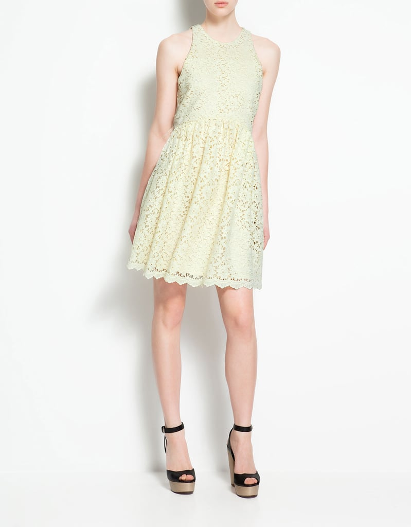 This makes an understated but still sweet and chic option for the ultrafeminine bride.  Zara Guipure Lace Dress ($90)