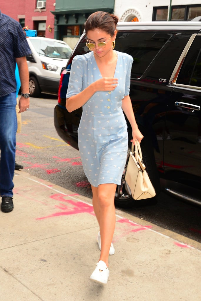 Selena Gomez's Blue Rouje Dress | POPSUGAR Fashion