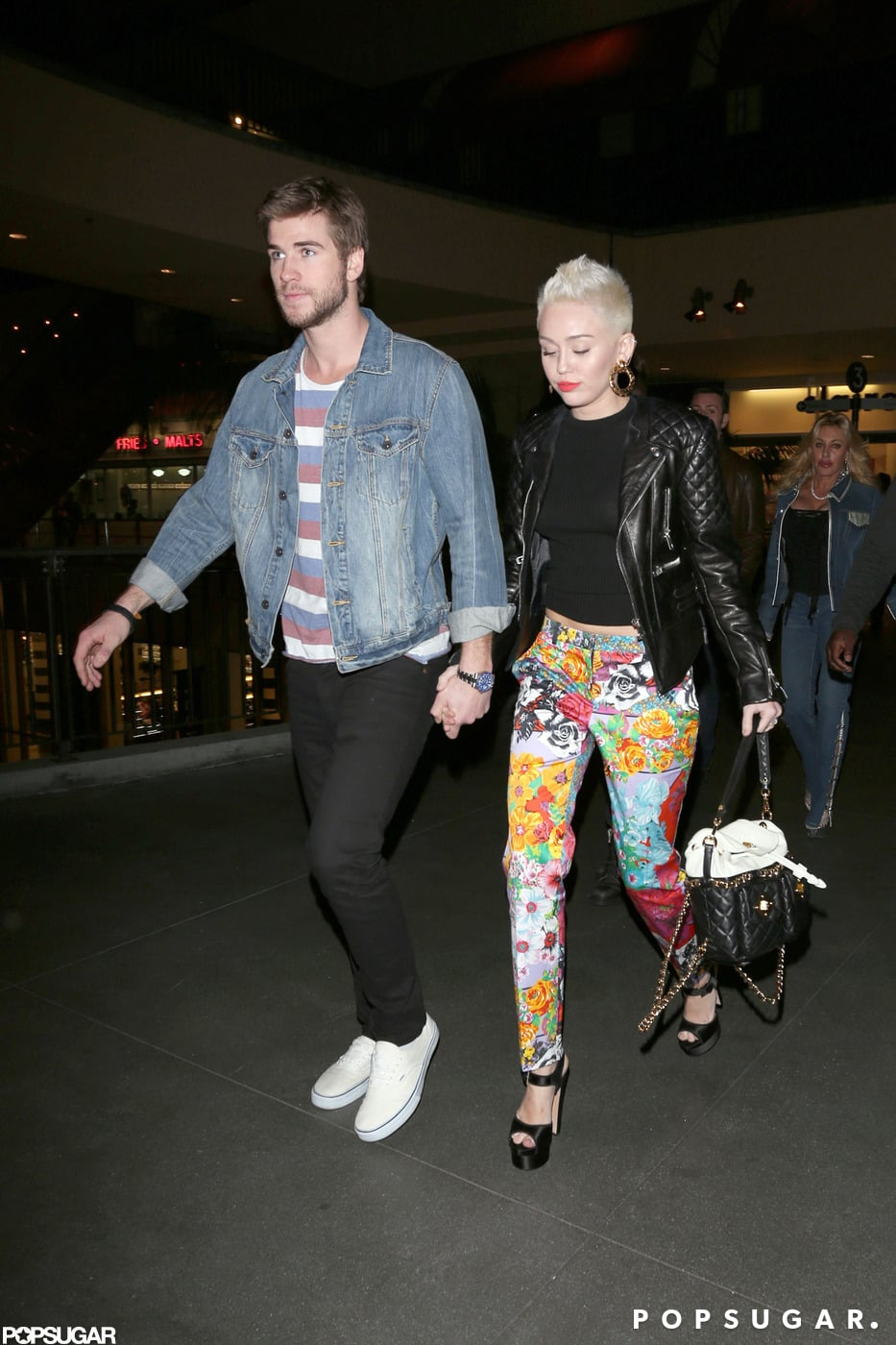 Miley Cyrus and Liam Hemsworth walked to dinner in LA.